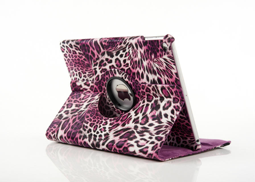 2015 Smart Case Cover For Apple Ipad Air 2 Ipad 6 Case Luxury 360 Degree Rotating Sleeve Case Flip Leopard PU Leather Cover