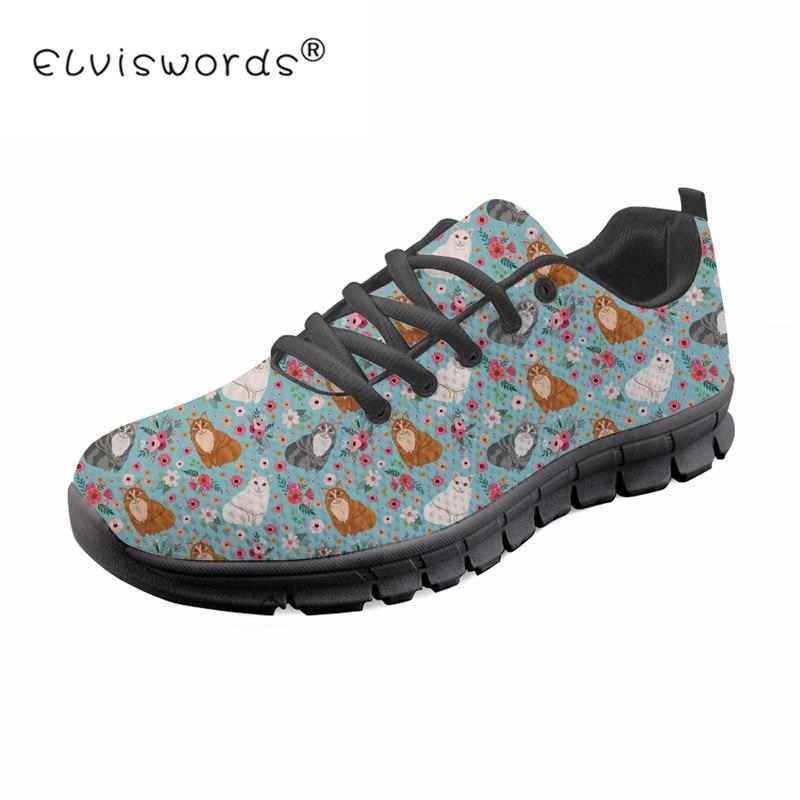 Maille De Lace Elviswords Impression Respirant Femmes Sneaker Customaq Maine Plat Coon Filles b b Up Casual Chat Chaussures h8626aq Mode Fleur fZPwIaqw
