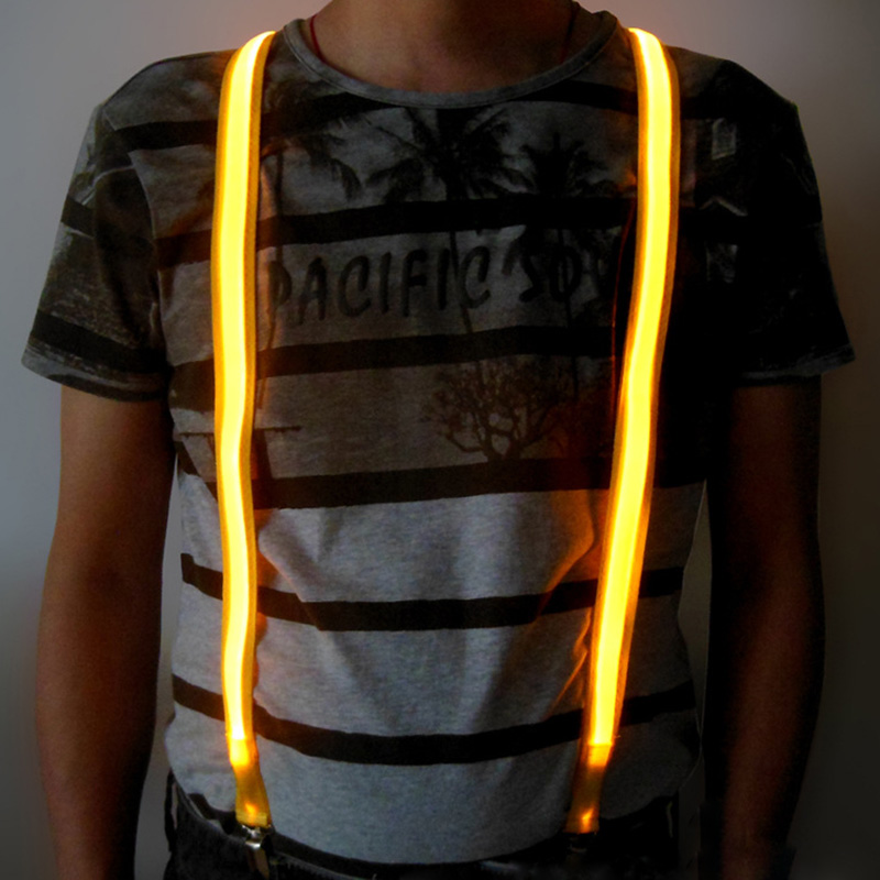 Hot Sales10 pcs LED Suspenders Men Three Clips on Braces Mens Suspender For Trousers Husband Male