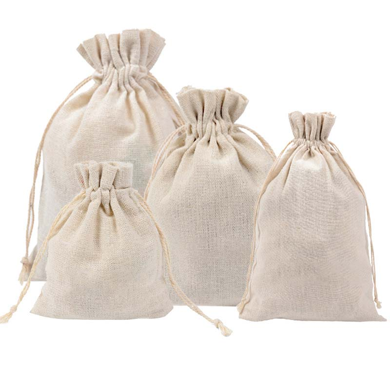 New Dropshipping Wholesale Price Natural Resuable Jute Linen Drawstring Pouch Packaging Gift Bag Logo Printed Jewelry Bag