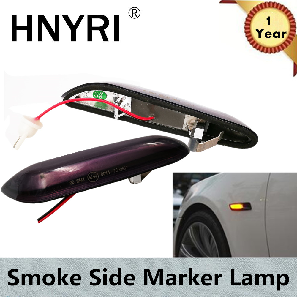 HNYRI 2pcs Smoke LED Amber Fender Side Marker Lamp Turn Signal Light for BMW E46 316I 318I 325I 330I 12V E53 X3 E83 E90 E46