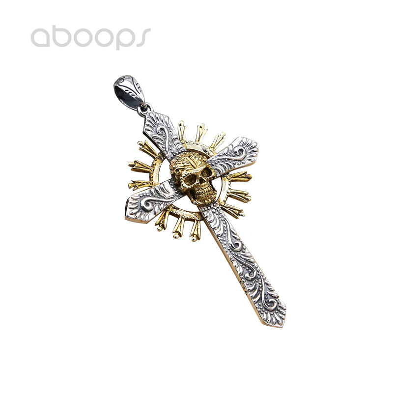 Two Tone 925 Sterling Silver Skull Cross Necklace Pendant for Men Boys Free Shipping цена