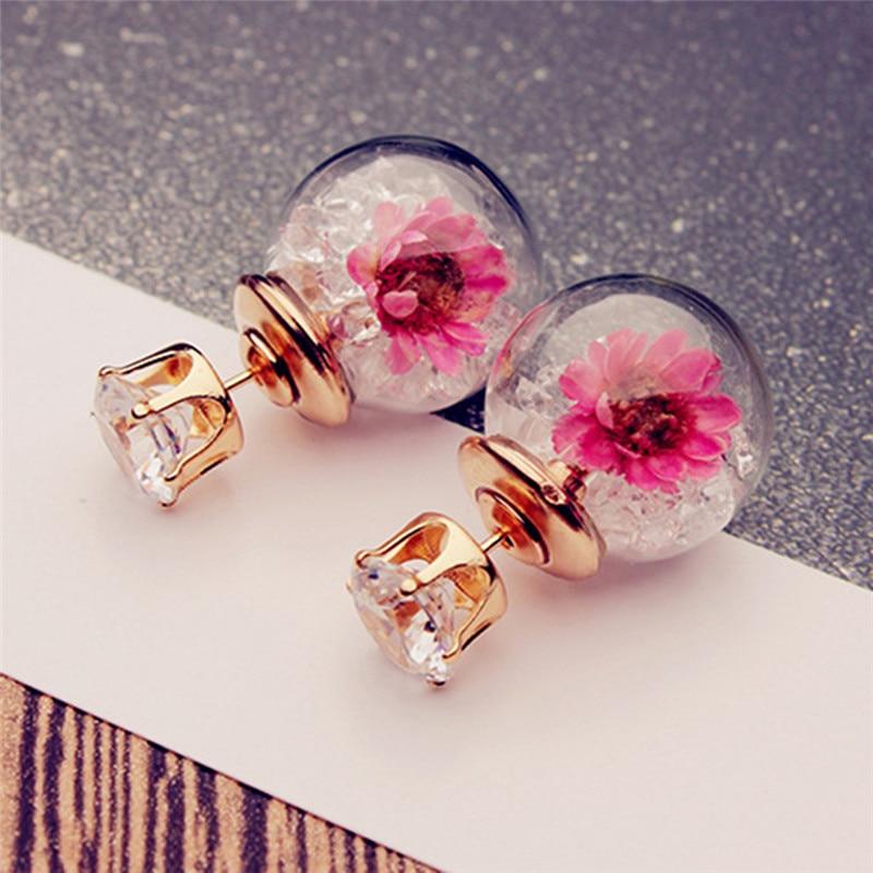 6 colores de doble cara bola de cristal flor hecha a mano pendientes - Bisutería