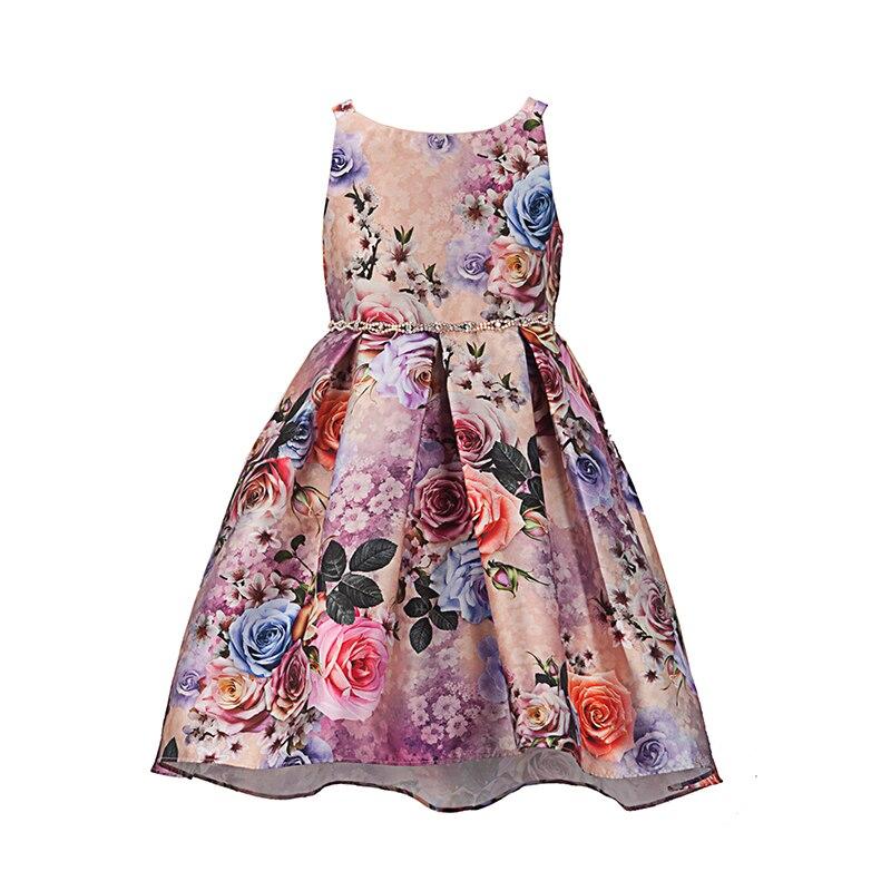 Детское платье с цветочным принтом и бисером, на возраст 2-6 лет