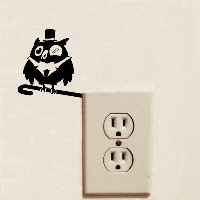 Superb Owl Funny Switch Sticker Cartoon Animal Vinyl Wall Stickers For Kids Rooms 2WS0282