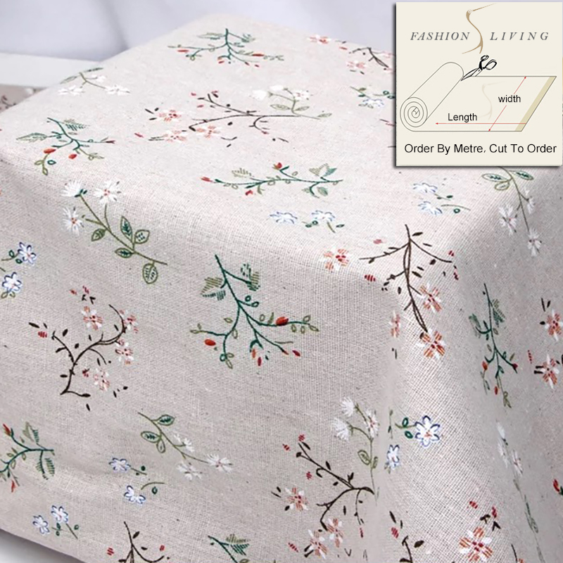 150cm Wide Wildflower Gardenia Flowers Cotton Linen Cream Fabric Linen Base  Cloth DIY Sewing Fabric Craft Cloth By SewCrane
