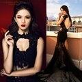 Sexy black lace vestidos de baile 2017 sem encosto frisado partido evening dress (fotos reais)
