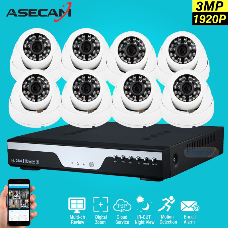 8ch HD 3MP CCTV Surveillance Kit DVR H.264 Video Recorder AHD indoor White Dome 1920P Security Camera System Motion detection