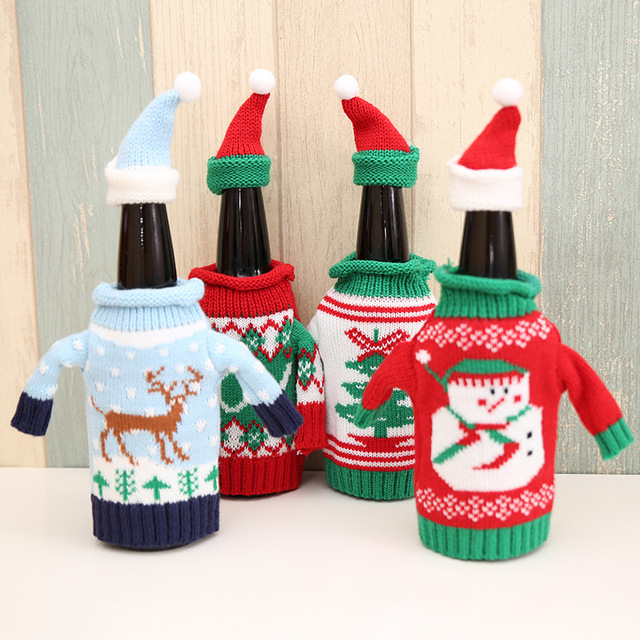 2pcs/set Christmas Decorations Wine Bottle Sweater Cover Bag Santa Claus Knitting Hats for New Year Xmas Home Dinner Party Decor 2