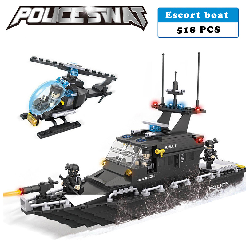Police station SWAT escort Boat Military Series soldiers 3D Model building blocks compatible with lego city Boy Toy hobbies Gift
