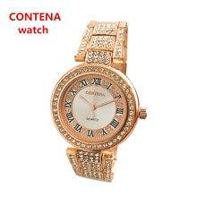 Ouro rosa Marca Famosa Contena Senhoras Relógios de Strass Cheio de Diamantes Mulheres Se Vestem Relógios Relogios Femininos