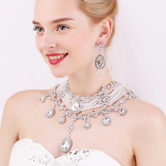 Moda romántica del partido del collar pendientes joyería nupcial de la boda de mujer las borlas declaración enviado joyería nupcial de la boda