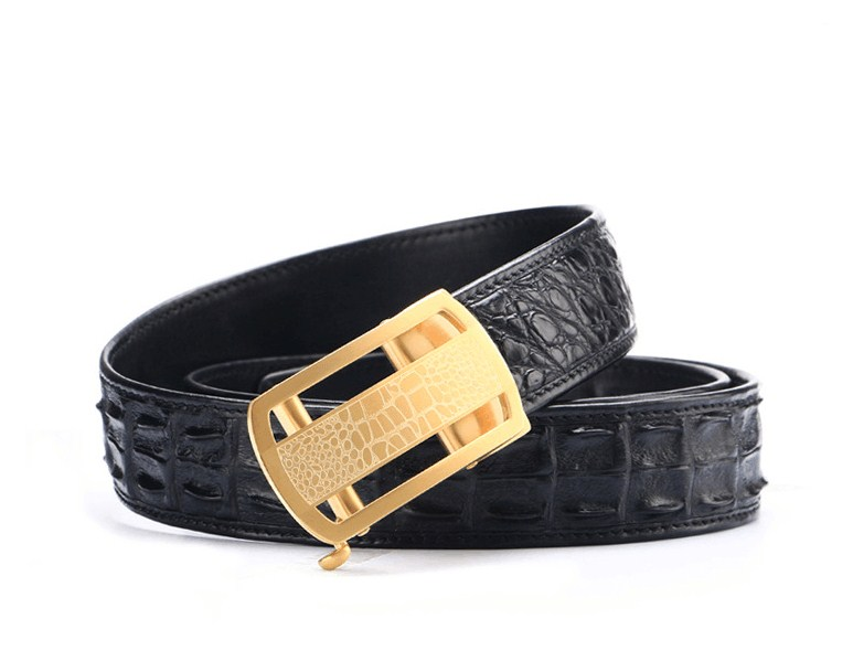 Real crocodile leather stainless steel autometic buckle men solid casual belts