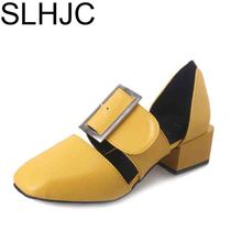SLHJC 2017 Summer Sandals Medium Heel Square Toe Leather Pumps Fashion Design Wide Heel Lady Pumps Shoes 4.5 CM