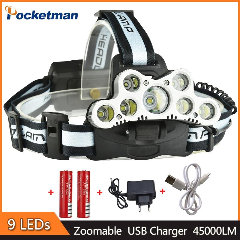 z30 Super Bright 45000LM USB 9 LED Headlamp head flashlight torch XM-L T6 head lamp rechargeable for 18650 battery super 15000lm usb 9 cree led led headlamp headlight head flashlight torch cree xm l t6 head lamp rechargeable for 18650 battery