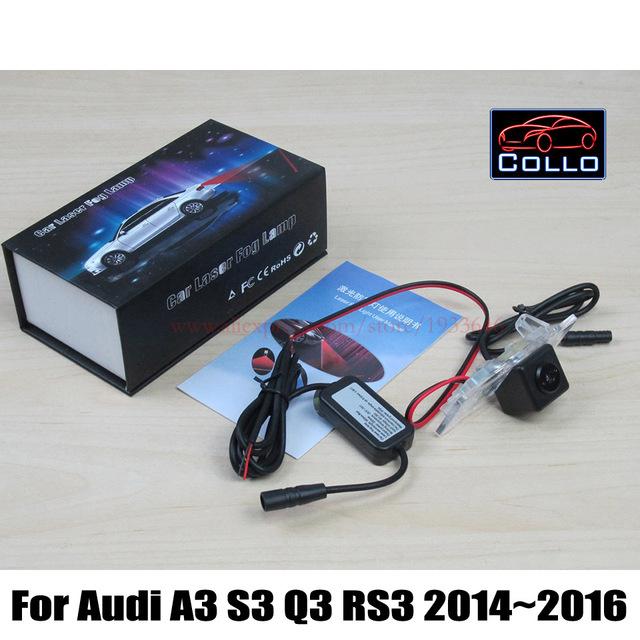 Laser luz de nevoeiro traseira para Audi A3 S3 Q3 RS3 2014 ~ 2016 / automóveis para Anti colisão traseira externa - end Auto seguro luzes de condução