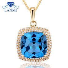 Fashion Cushion 12x12mm 14Kt Yellow Gold Natural Topaz Wedding Pendant 2T018