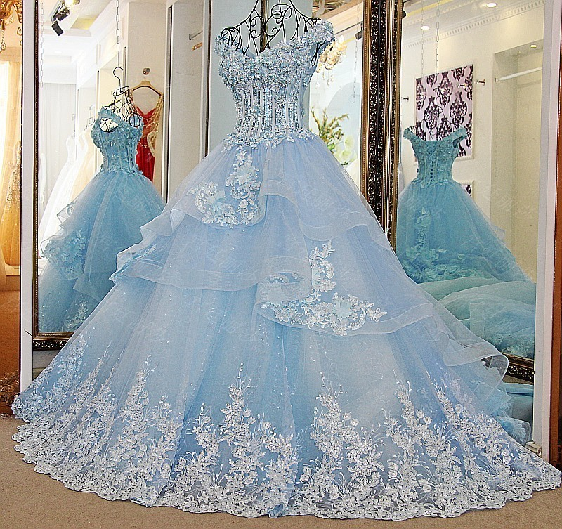 Backlake Custom Made V-Neck Cap Sleeve Lace Appliques Crystal Flowers Court Train A-Line Bridal Gowns Wedding Dresses