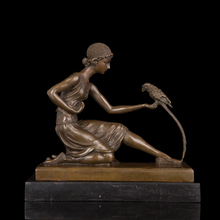 ATLIE BRONZES Christmas gifts Classical  Lady Bronze Statue girl with  parrot casting sculpture  Feeding parrots for sale