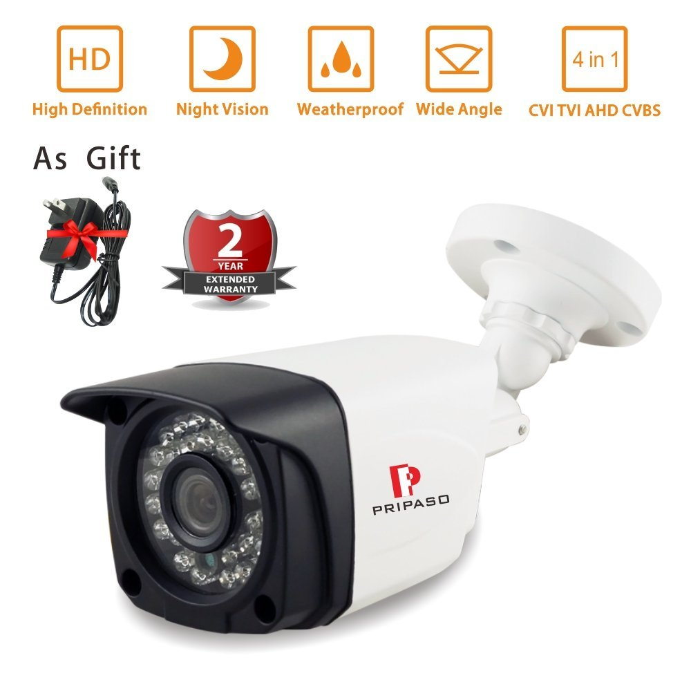 Security Bullet Camera 2.0MP 1080P Camera with Pripaso Wired HD-AHD/TVI/CVI CCTV Home Security Camera  Night Vision 100ft 4 in 1 ir high speed dome camera ahd tvi cvi cvbs 1080p output ir night vision 150m ptz dome camera with wiper