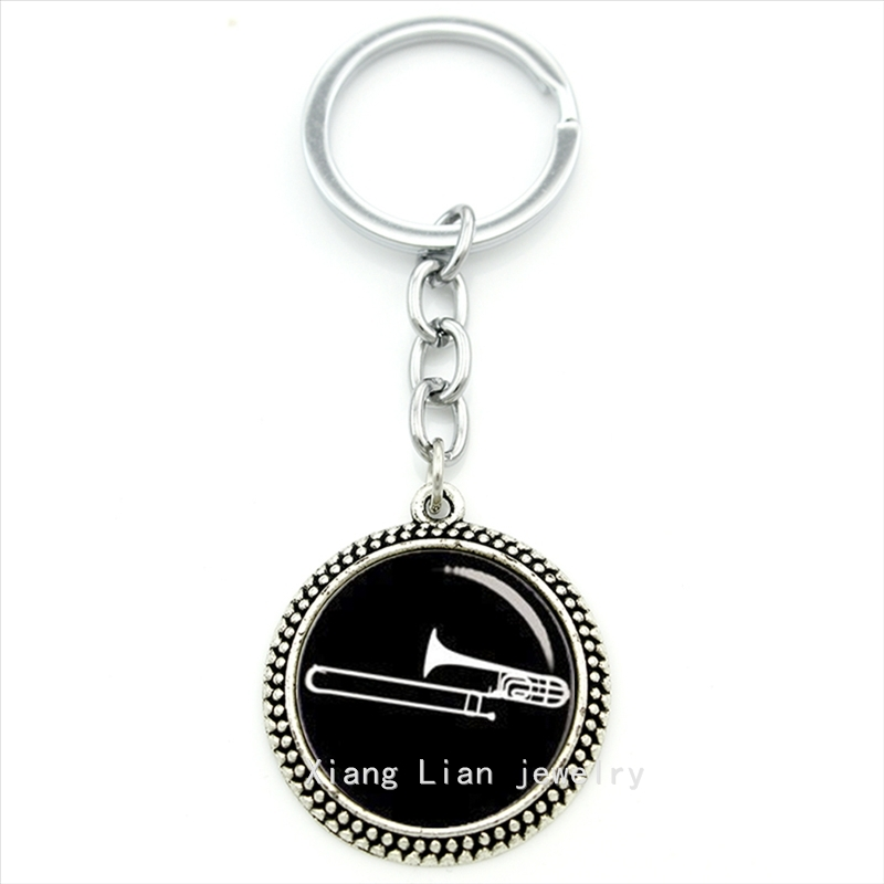 Vintage accessories trombone musal instrument key chain Mus Band,DJ Mixer Musian ifts, jazz mus men party jewelry T629