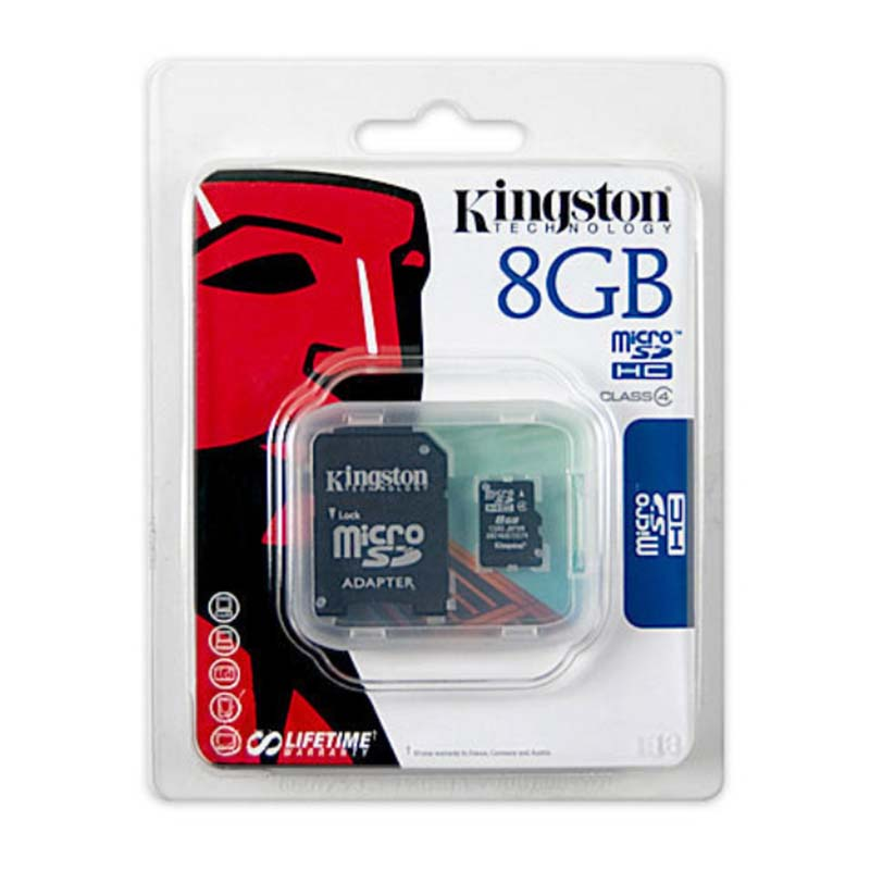 Kingston Technology Canvas Select Class 4 micro SDHC 8GB  Micro SD Card 8GB  MicroSD Flash Memory Card Black sd card+Adapter