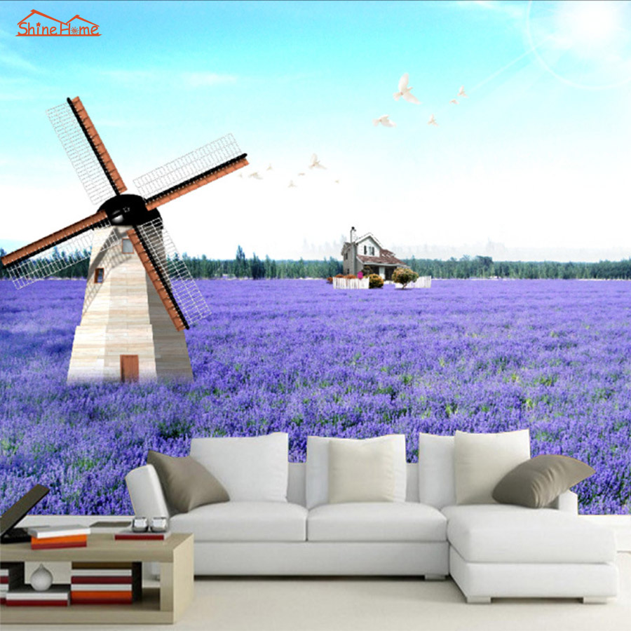 Lavender Windmill Natural Landscape Vintage 3D Room Photo Wallpaper for 3d Livingroom Wall Paper Prints Kids Wall Mural Rolls 10m victorian country style 3d flower wallpaper background for kids room mural rolls wallpapers for livingroom wall paper decal