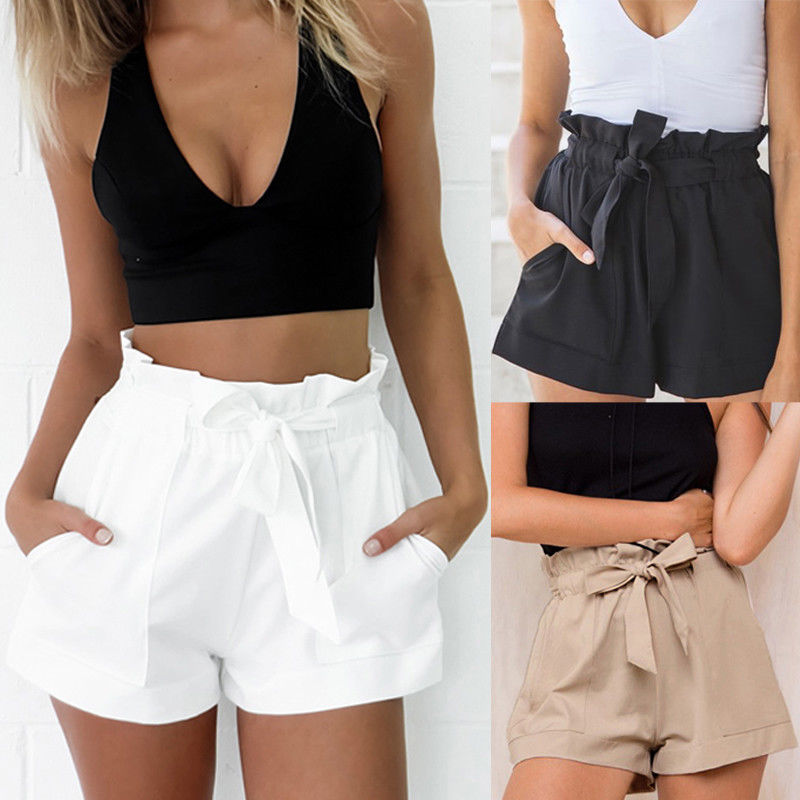 Women Summer High Waist Shorts Casual Short Hot Ruffle Mini Trousers Beach Size 6 - 14