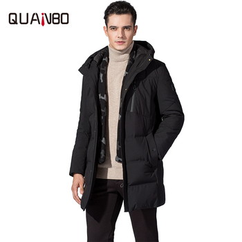 Top Quality Winter X-Long Down Jacket 2019 New Thickening Warm Hooded Scarf  Men Duck Down Jacket Youth Black Mens Coat Parkas