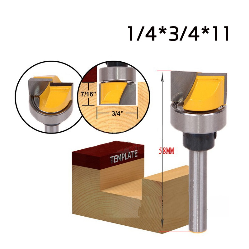 1PCS Three Types 1/4*3/4*11   1/2*3/4*11   1/4*5/8*19  With Bearing Cleaning Bottom Woodworking Endmill Router Bits 19 11 5 3