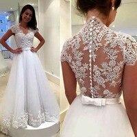 O Laço branco Apliques Vestidos de Casamento 2019 Sheer Voltar Botões Mangas Curtas Baratos Vestidos de Noiva vestidos de novia|Vestidos de Noiva| |  -