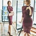Осень и зима женщин кружева dress Волан фиолетовый цвет бинты vestido де феста тонкий сексуальный вечер bodycon dress одежда