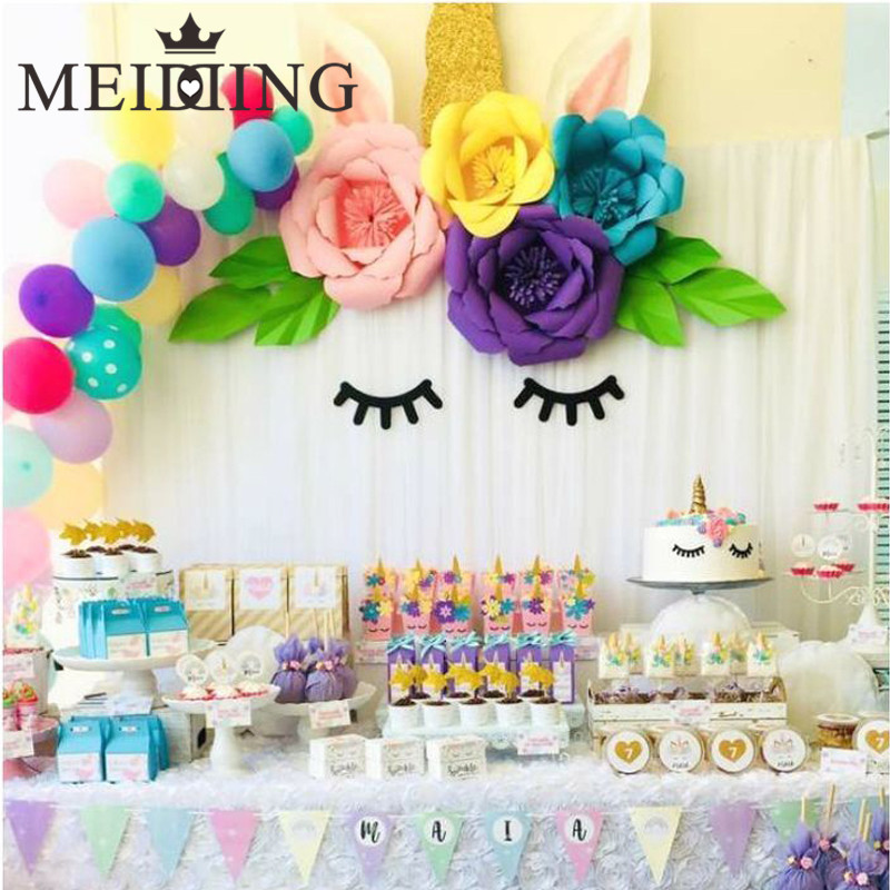 MEIDDING-unicorn Birthday Decoration Unicorn Party 20cm Artificial Rose Flowers Banner Cake Topper Baby Shower Party Cake Decor