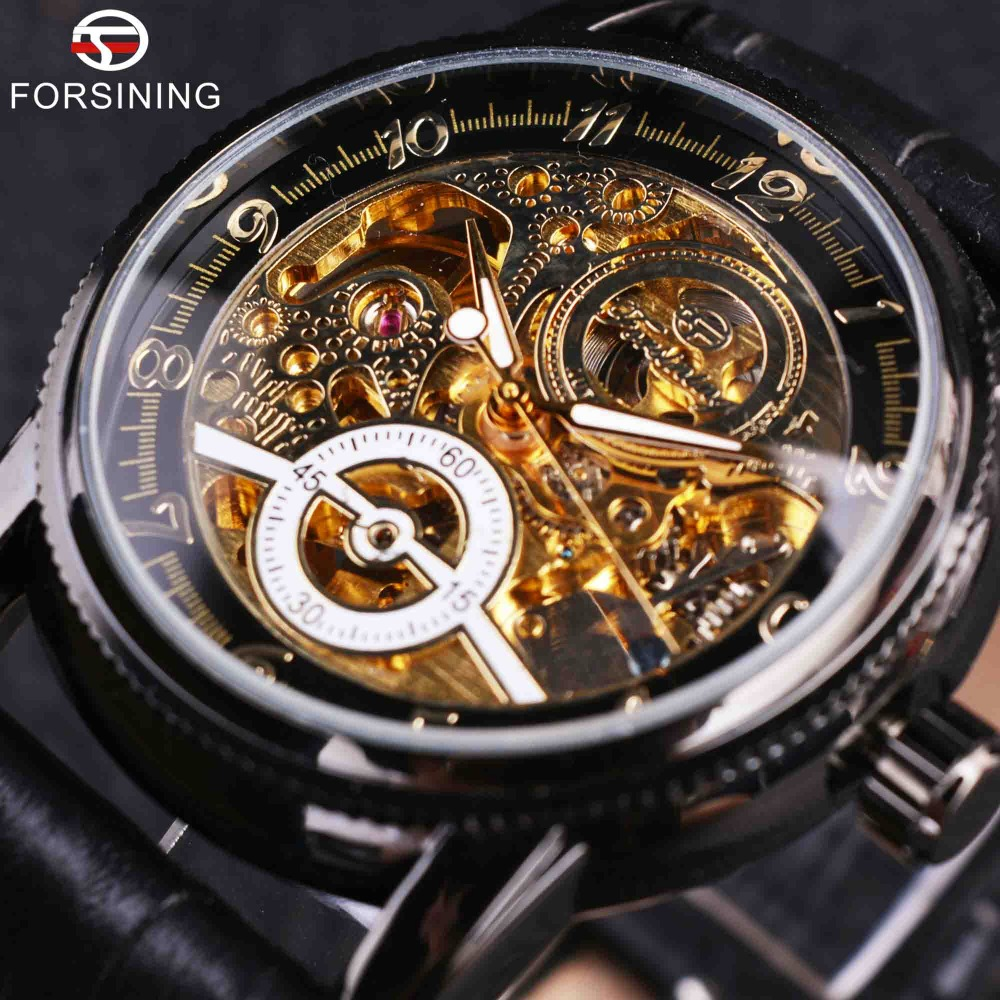 Forsining Royal Hollow Retro Design Black Genuine Leather Strap Black Bezel Mens Watch Top Brand Luxury Automatic Skeleton Watch kings and queens mens mechanical skeleton watch gold bezel black leather strap kq bkgd