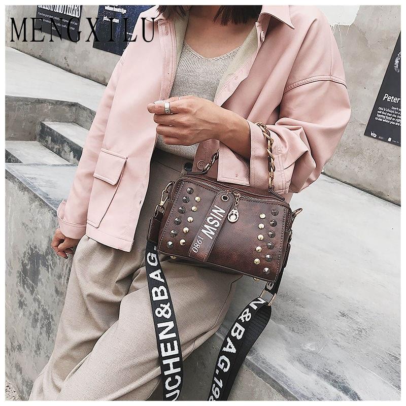 Net Hot 2018 Large Capacity Women Bag Shoulder Tote Bags Women Luxury PU Leather Handbag Personalized Rivet Crossbody Boston Bag