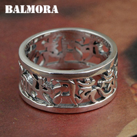 BALMORA 990 Pure Silver Buddhistic Six Words Mantra Rings For Women Men Gifts Silver Ring Religious