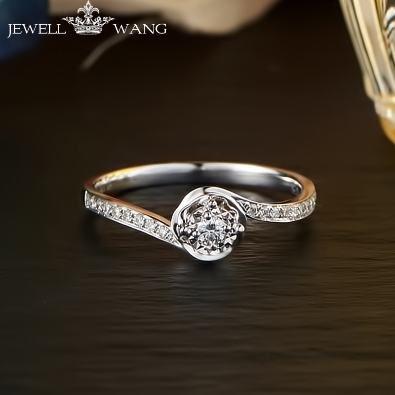 цена JEWELLWANG 18K White Gold Diamond Rings for Women Round Romantic 0.5CT Effect Certified Engagement Diamond Luxury Rings Brands