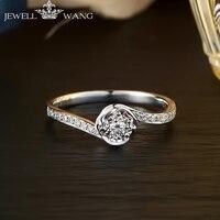 JEWELLWANG 18K White Gold Diamond Rings for Women Round Romantic 0.5CT Effect Certified Engagement Diamond Luxury Rings Brands