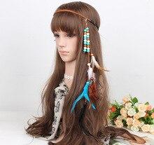 Haimeikang Mode Volwassen Haarband Indische Pauw Hanger Hoofdband Bladeren Touw Gebreide Riem Elastische Hairwear Hoofdtooi