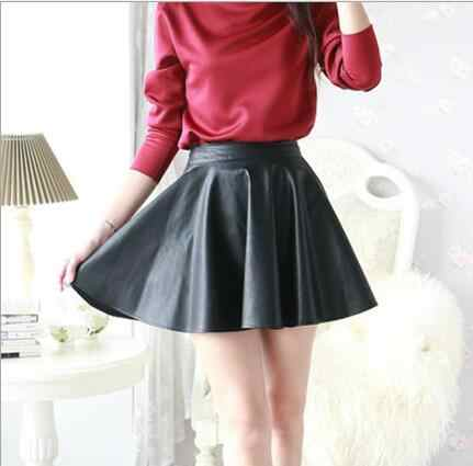 Women's 2018 spring and autumn PU leather Solid black Mid Waist Skirt Mini Red Short  Skirt