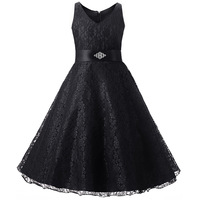 Full Lace Simple Flower Girl Dresses For Party And Wedding Size 8 10 12 14 Purple