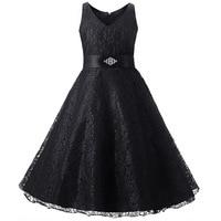 Tam dantel basit çiçek kız elbise için parti ve düğün boyutu 8 10 12 14 mor kırmızı fildişi beyaz siyah parti elbise çocuklar için