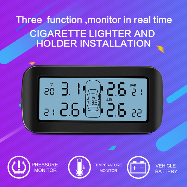 CAREUD D30 Auto Car Wireless TPMS Tire Pressure Monitoring System with 4 Sensors LCD Display Monitor Cigarette Lighter Socket