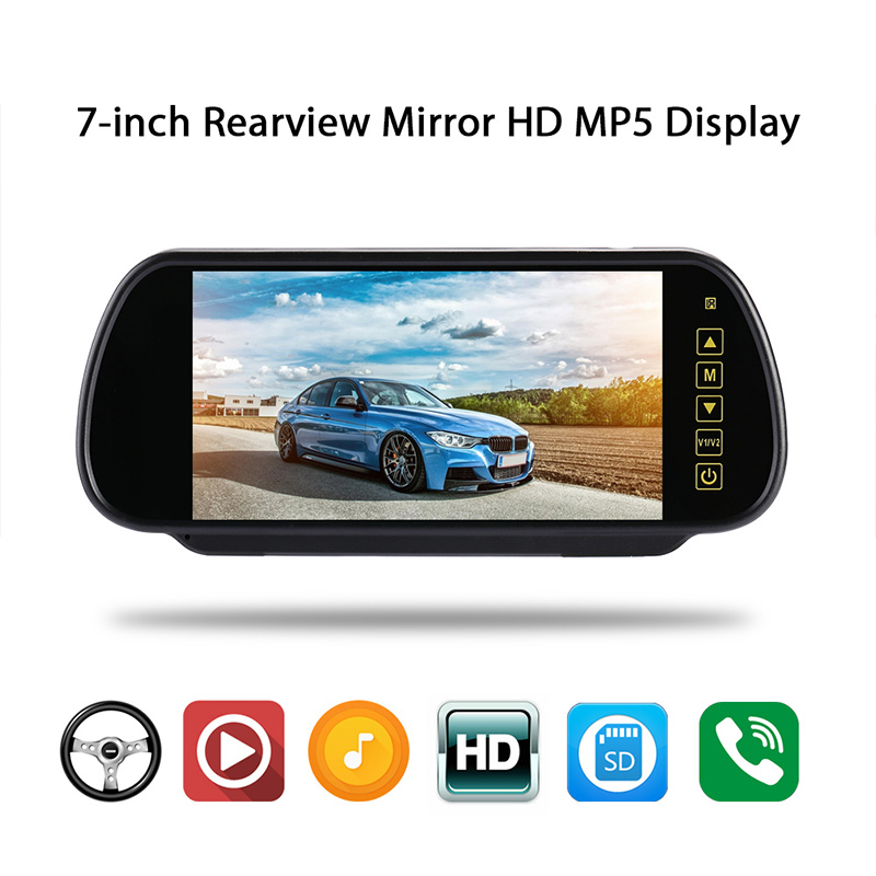 Vehemo 7 Inch TFT LCD 16:9 Touch Button DVD Car Rearview Mirror Monitor MP5/TV/MTV Screen Parking Reverse Rear view Monitor 7 inch touch screen bluetooth mp5 car rear view mirror monitor tf usb 800 480 lcd fpv bt mirror pal ntsc for car or truck bus