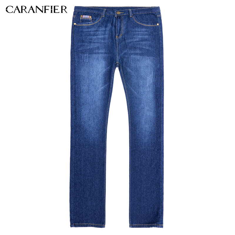 CARANFIER Jeans Casual Denim Pants Classic Whiskering Straight Blue Jeans Masculina Male Denim Trousers Cotton 28 29 30 34 36 denyblood jeans darked wash jeans mens blue black cotton denim straight fit classic stylish casual pants male trousers 818