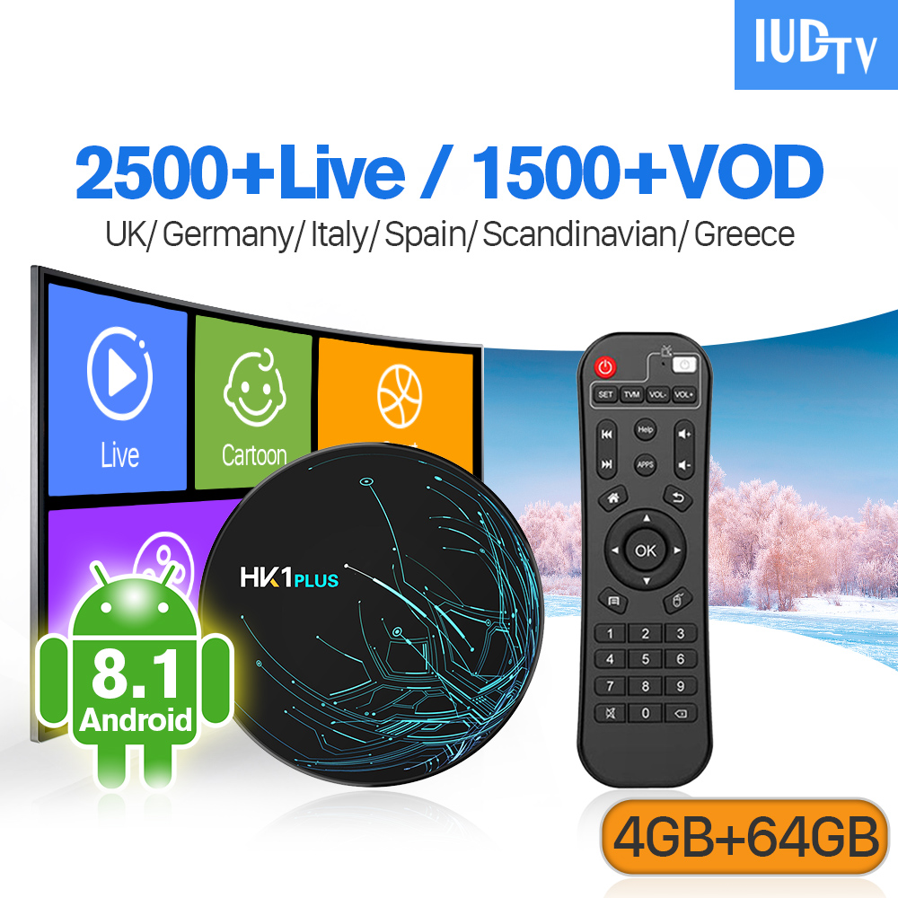 IUDTV IPTV Sweden Spain IP TV Subscription HK1 PLUS Android 8 1 4G 64G IPTV Sweden Spain Italy Germany UK IPTV Subscription Box in Set top Boxes from Consumer Electronics