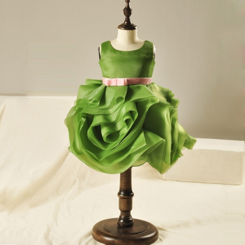 ФОТО Princess dress knee-length ball gown kids girls green dress flower girl dresses for wedding birthday costumes
