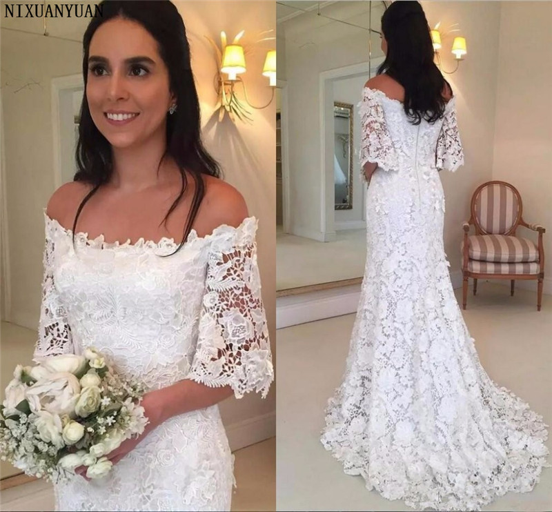 Vintage Lace Mermaid Wedding Dresses Country Half Long Sleeve Boat Neck Bridal Gowns Sweep Train Wedding Gowns For Bride Dress