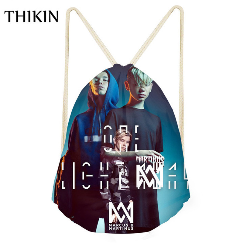 THIKIN Women Swimming Bag Marcus And Martinus Printing Draw-string Bag Beach Bags For Teenager String Backpack 2019 Beach Bolsos