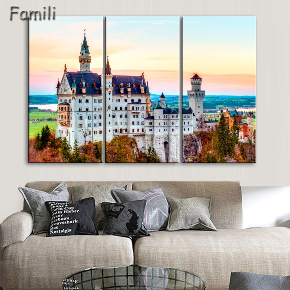 Us 9 4 25 offliving room bedroom home wall art decoration fabric poster neuschwanstein castle bavaria germany famous building landscape in painting